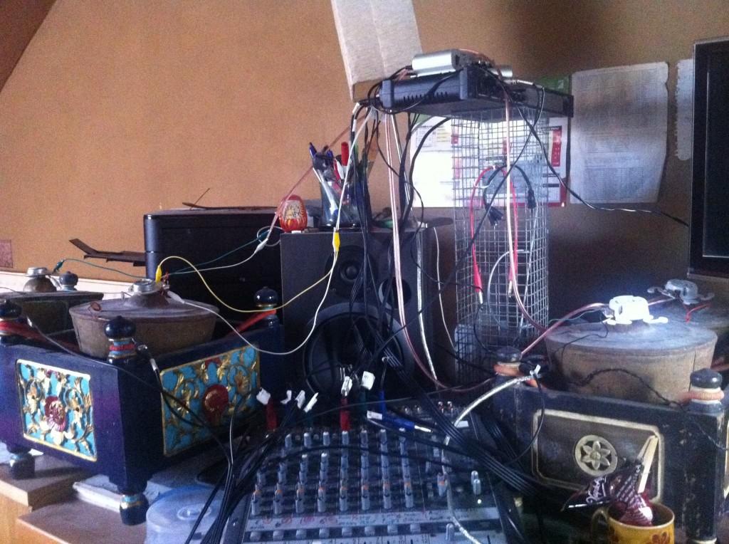 Bonang and transducer setup for recording of the Shoutcry Room piece.